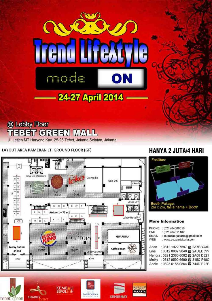 Get Closer to Our Bazaar/Pameran at Green Tebet, 24-27April. Book Now. Harga Booth Hanya 2 jt per 4 Hari: 2x2m. from 9 am - 9 pm info: 081219227597+2A7BBC3D