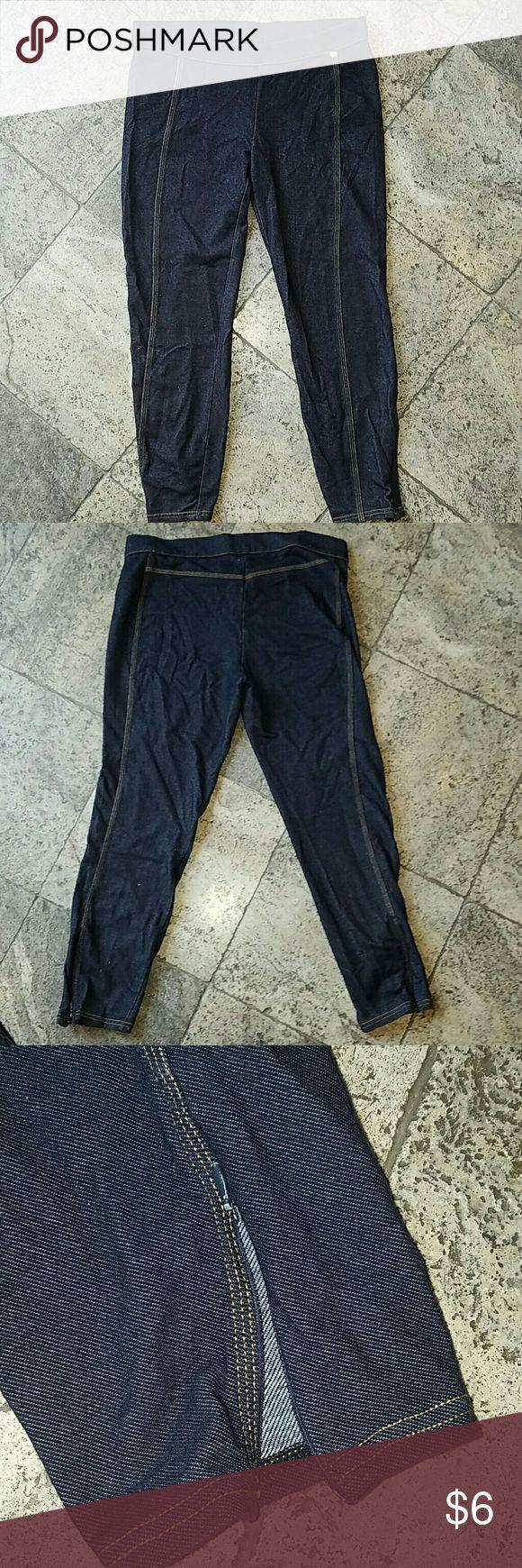 Armani Exchange denim-like capri leggings Armani Exchange denim-like capri leggings, soft and stretchy, bottom seams have zipper to create small slit, well worn Armani Exchange Pants Capris