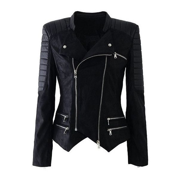 Stand-Up Collar Long Sleeve Asymmetrical Women's Motorcycle Jacket ($44) ❤ liked on Polyvore featuring outerwear, jackets, stand up collar jacket, faux-leather jacket, faux biker jacket, asymmetrical moto jacket and moto jacket