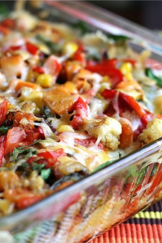 Stacked Roasted Vegetable Enchiladas - Heidi Powell