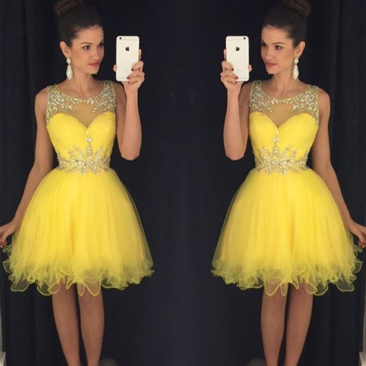 Bg116 Prom Dress,Yellow Tulle Short Homecoming Dresses 2016 Sleeveless Scoop Knee length Fashion Women Cocktail Party Dress Sexy Prom Gowns