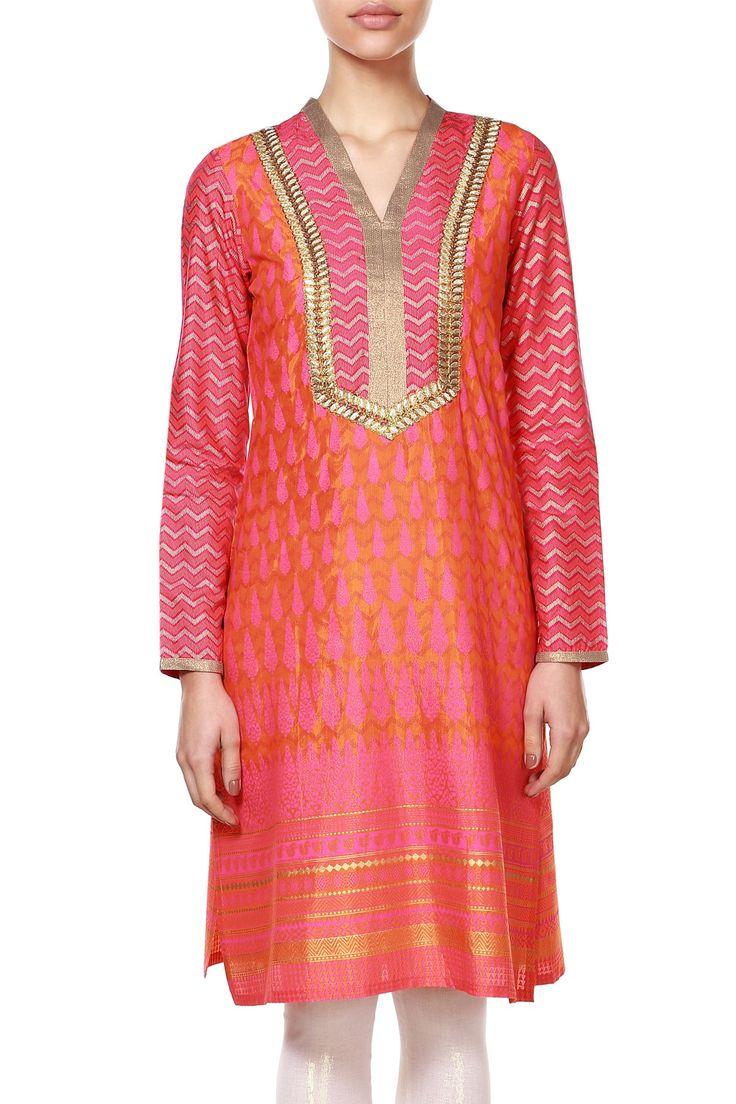 Orange pink ethnic kurta - Buy Orange pink ethnic kurta - 19389-KU-342 - KURTA for Women - Global Desi by Anita Dongre | Anitadongre.com