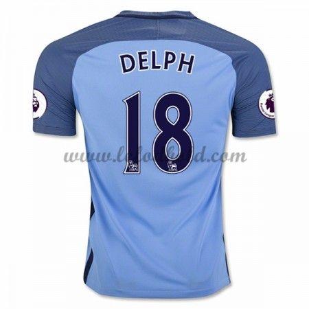 Billige Fodboldtrøjer Manchester City 2016-17 Delph 18 Kortærmet Hjemmebanetrøje