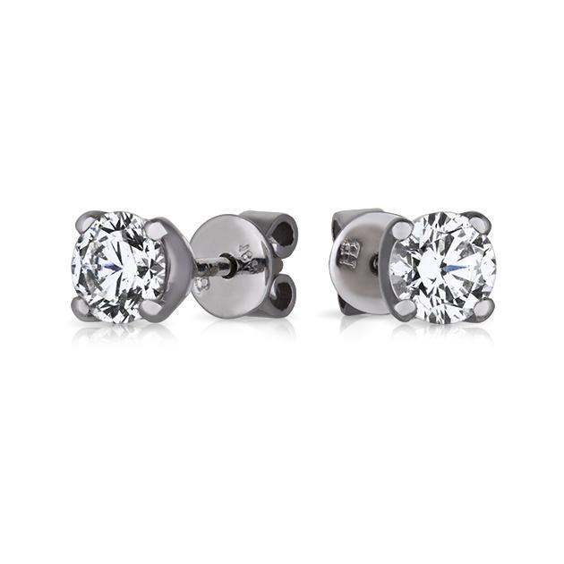 18ct White Gold round brilliant cut Diamond earrings