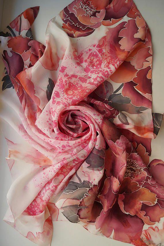 Silk Square Scarf, Marbled Silk Scarf, Handpainted Square Scarf, Handpainted Neckerchief, Pink Maroon Silk Scarf, Unique Silk Neckerchief