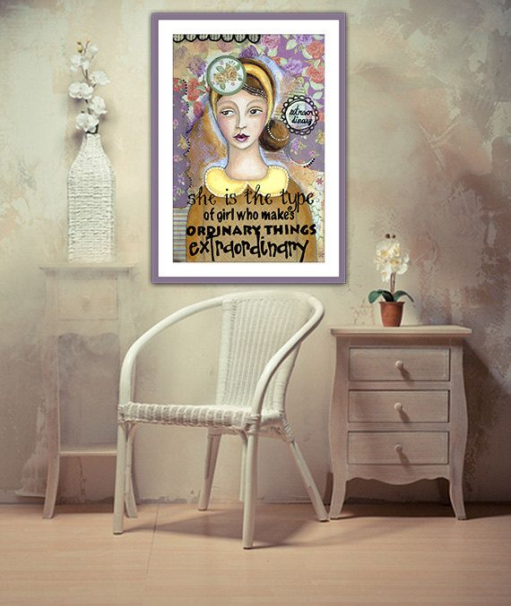Inspirational art poster of extraordinary women, art reproduction of original collage painting, 8� x 12�, inexpensive wall art