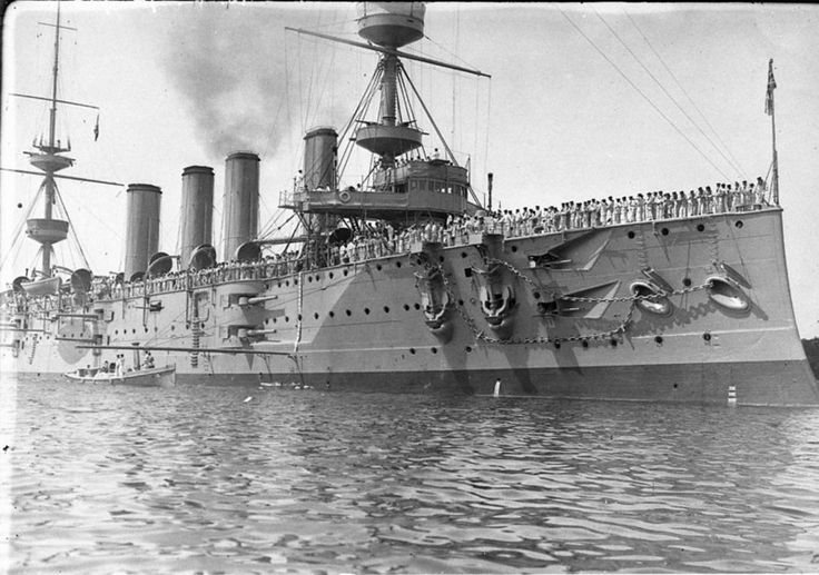 Sailors on deck of four-funnel cruiser HMS Powerful, Australian Squadron, Sydney Harbour. circa 1902-1913. Sam Hood Collection, State Library of New South Wales: http://www.acmssearch.sl.nsw.gov.au/search/itemDetailPaged.cgi?itemID=152671