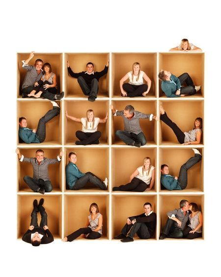 family photo - take individual photos inside a large box , then add everyone together
