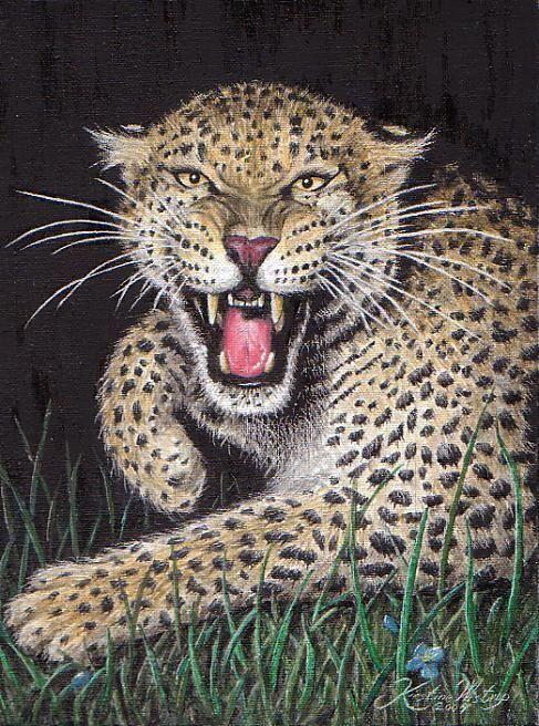 Leopard olie maleri, by Kirstine Wistrup