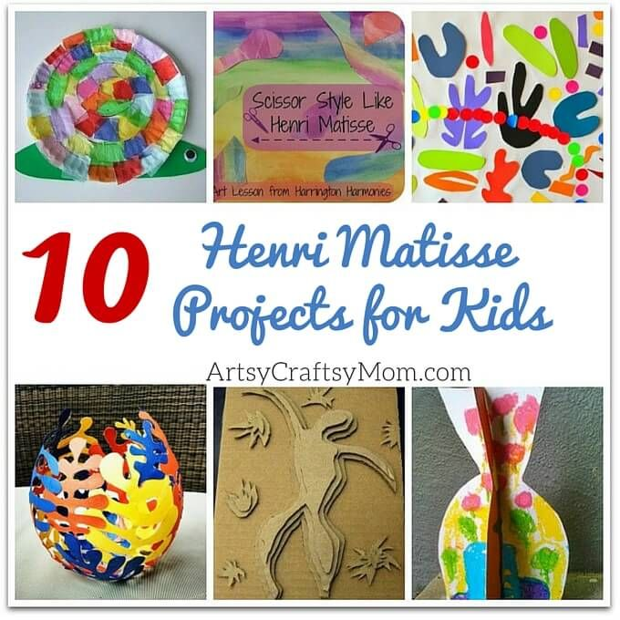 Roundup of 10 Henri Matisse Projects for kids to make! A great way introduce art history to young children!