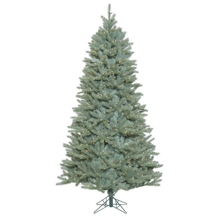 Vickerman 7.5' Prelit Slim Colorado Blue Spruce Artificial Christmas Tree with 800 Clear Lights, Green