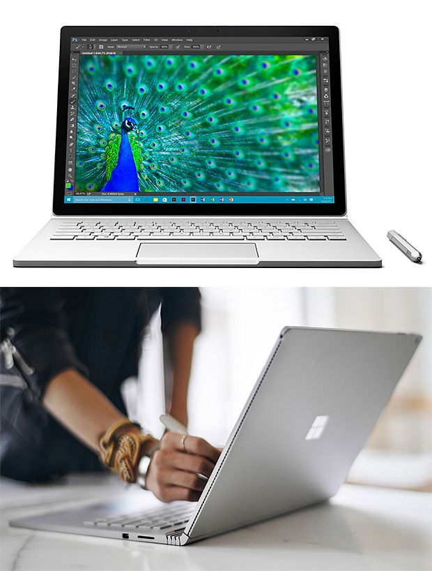 Microsoft Surface Book-- This is Microsoft's first laptop. It's powerful and great looking. The Surface Book is a 13.5-inch laptop reported to be more than twice as fast as a MacBook Pro. It also boasts a 6-million pixel display (267ppi), NVIDIA GeForce graphics, the latest Intel Core processor, and a 12-hour battery. The keyboard also detaches allowing you to use it as a tablet. $1500