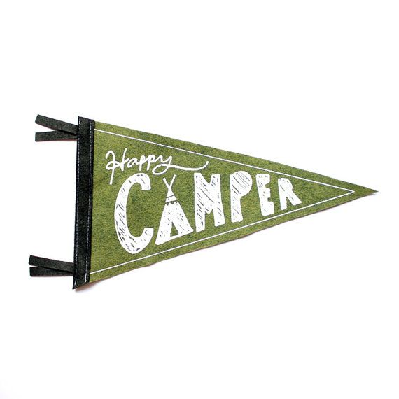 Celebrate the great outdoors with this handmade happy camper pennant. Screen-printed with water based, eco friendly ink on 100% Wool Felt. Pennant