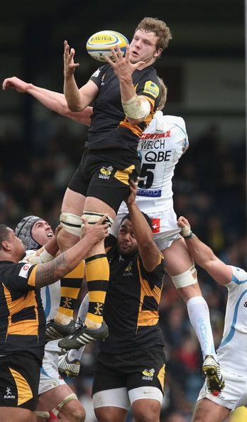 Joe Launchbury of Wasps wins the lineout ball during the Aviva Premiership match between London Wasps and Exeter Chiefs at Adams Park on April 21, 2013 in High Wycombe, England.