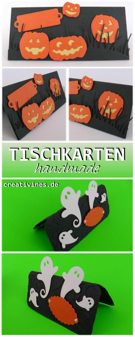 Halloween-Tischkarten basteln, Gespenster und Kürbis