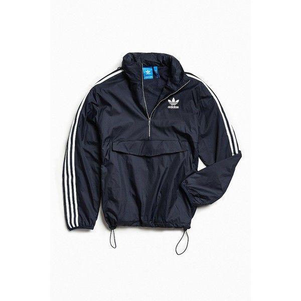adidas Modern Windbreaker Jacket ($99) ❤ liked on Polyvore featuring men's fashion, men's clothing, men's activewear and men's activewear jackets