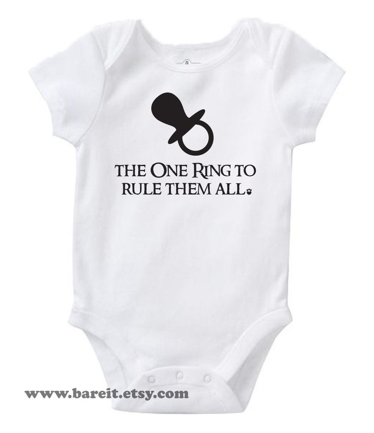 The One Ring To Rule Them All Inspired By Lord of the Rings Cute Geek/Nerd Funny Humor Baby Onesie Size 3,6,12,18,24 month Color White. $15.00, via Etsy.