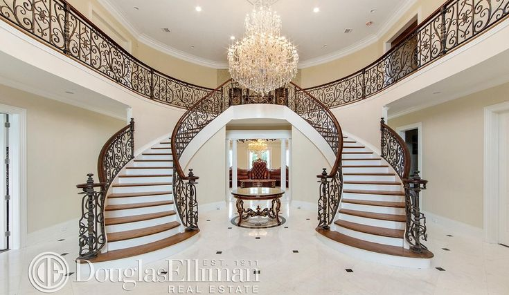 2 Story Foyer W Double Staircase Staircase Pinterest