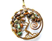 Tree of Life Pendant, Bright Polished Rhyolite Pebbles, Antique Bronze Wire and Nylon Choker Cord
