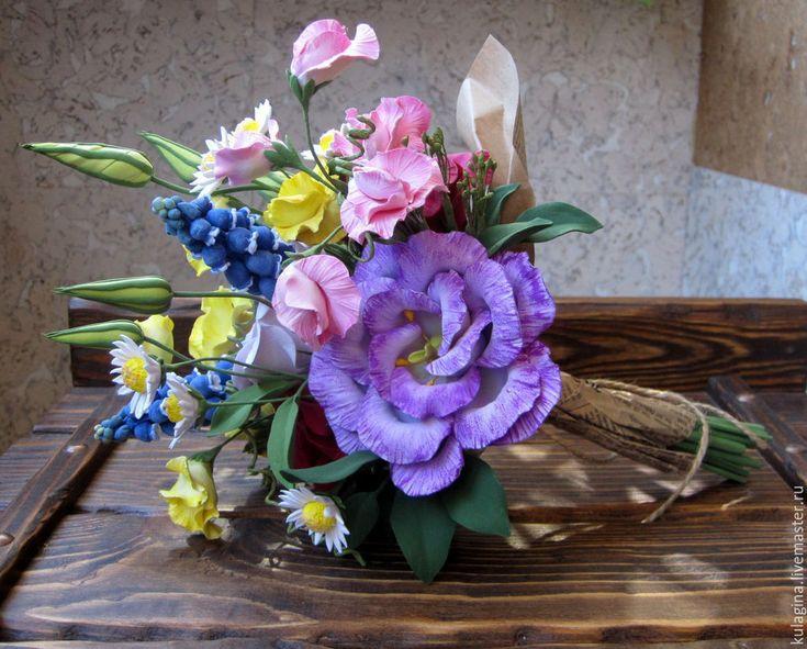 Купить Весенний букетик - разноцветный, весенний букет, душистый горошек, лизиантус, мускари, ромашки, эустома