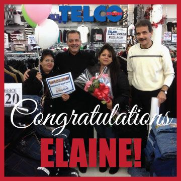 Congratulations to our contest winner, Elaine. She came with her mom to pick up the $500 gift card last week. She and her mom have been loyal Telco customers for years! :)
