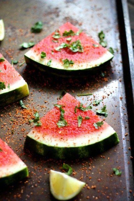 Grilled watermelon wedges with lime, cilantro and Tajín!/ Sandía a la parrilla con limón, cilantro y Tajín! Colors of summer/ Colores de verano.