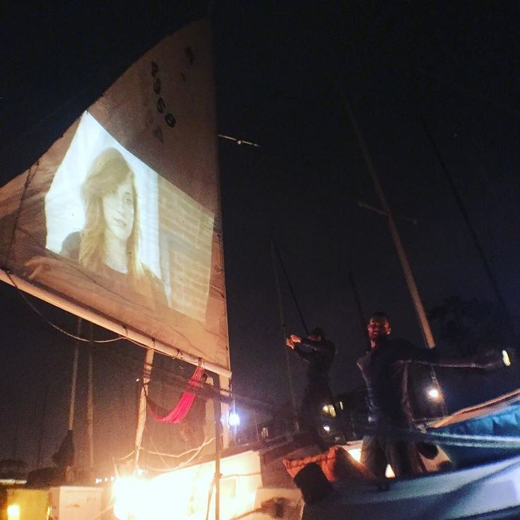Movie night under the stars on my boat! Success! #movie #movienight #party…