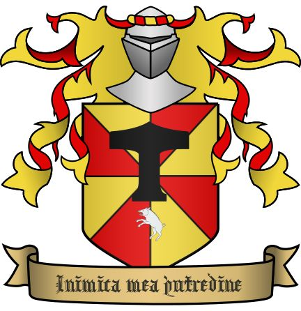 "Hawthorne the Jester's Coat of Arms:   ""Inimica mea putredine"" (""Enemy of Rodents"")   Parted gyronny or and gules, chief anvil sable, base mouse rampant argent, langued gules. (An anvil explosively squishing a mouse.)"