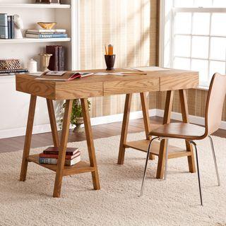 Upton Home Windhorst Oak Writing Office Desk | Overstock.com Shopping - The Best Deals on Desks