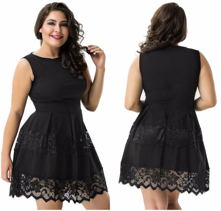 New Plus Size Women's Black Scoop Neck Lace Sleeveless Mini Skater Evening Dress