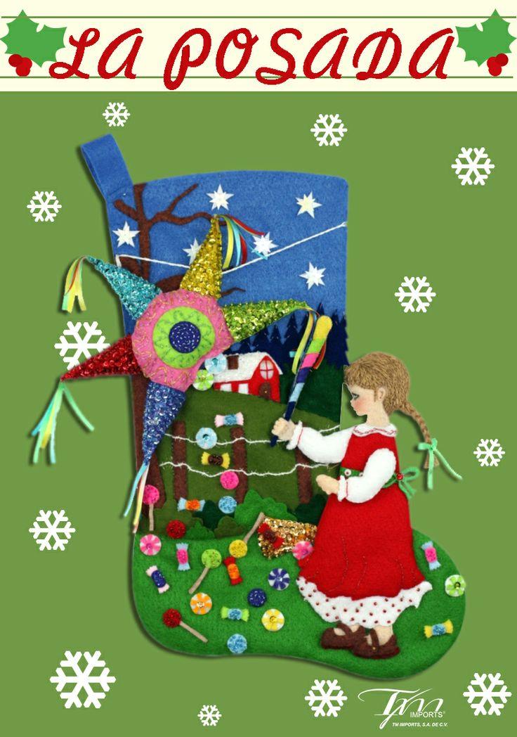 Bota navideña de fieltro