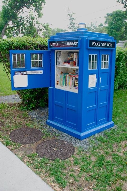 Little Library Tardis - You'll need a sonic screwdriver to open it, though.