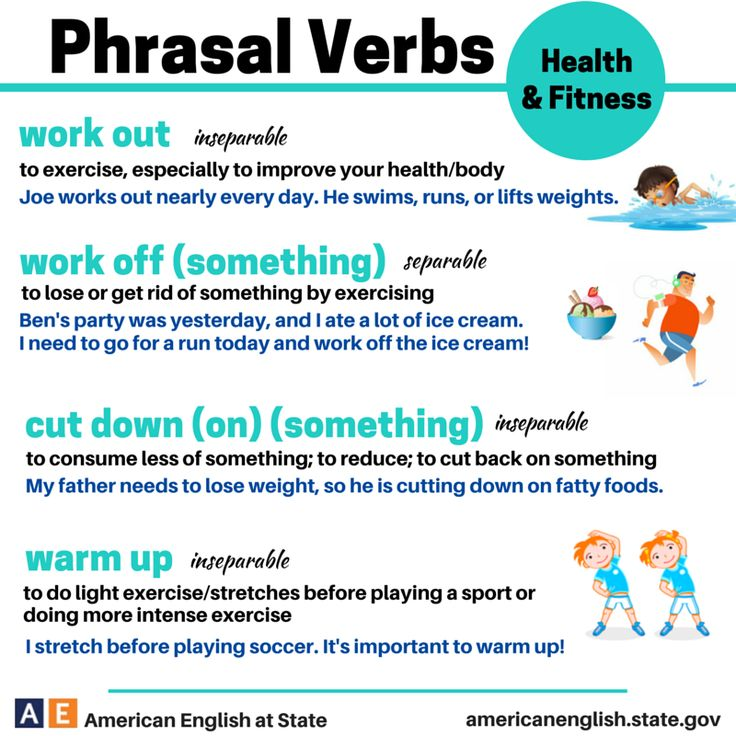 Phrasal verbs connected with 'Health and Fitness'.