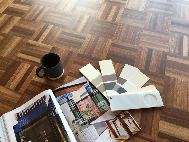 6 Finger Mosaic Parquetry in the species Blackbutt - featured here in the original Square on Square Pattern | Great flatlay here!