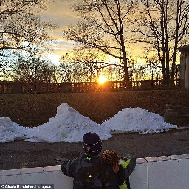 Gisele Bundchen posts an Instagram of her five-year-old son Benjamin and two-year old daughter Vivian watching a stunning sunset. Gisele captioned: 'Brother's love'.