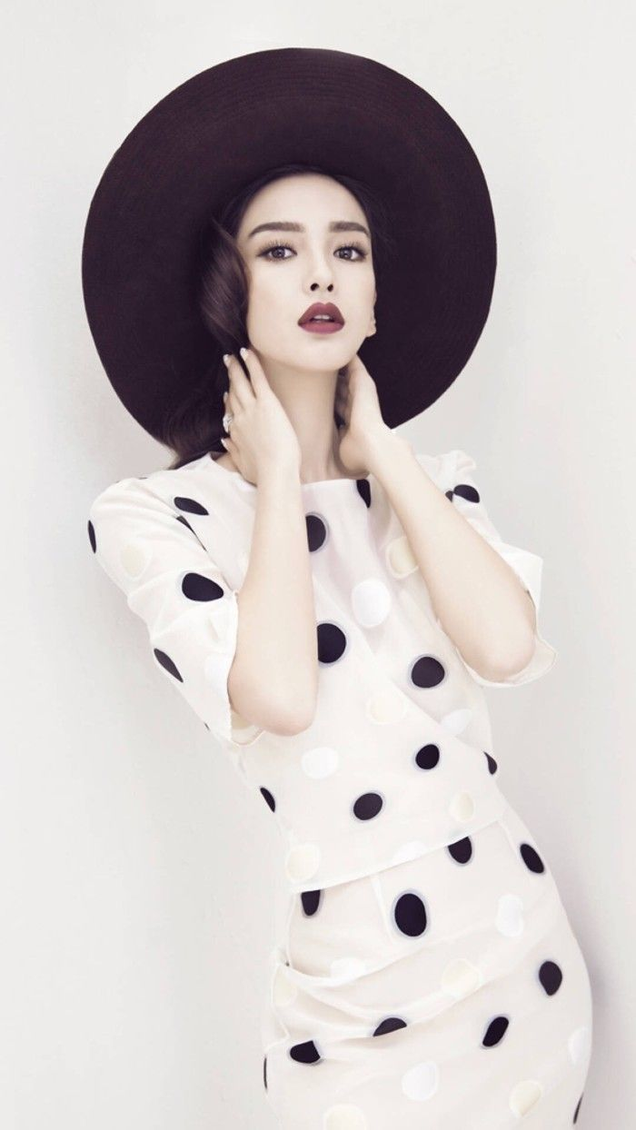 """Angelababy is """"red, black, and white"""" for L'Officiel"""