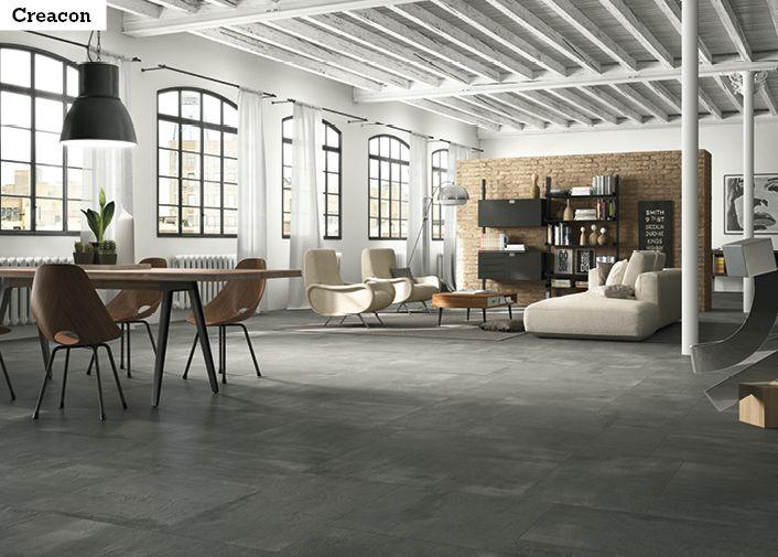 Betonimainen laatta sopii hyvin Loft-tyyliseen asuntoon. Laatta on II Creacon 60DG 60x60 cm.