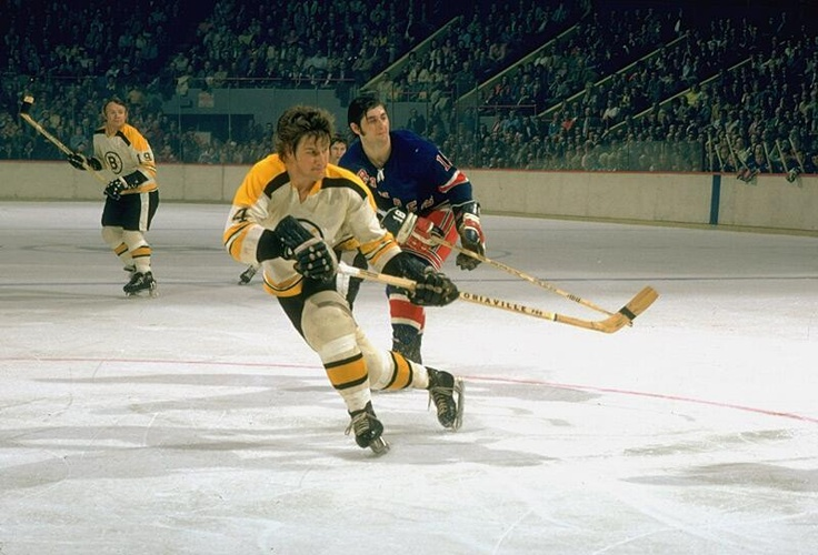 Bobby Orr in action during Game 2 of the 1972 Stanley Cup Finals between the Bruins and Rangers: pic.twitter.com/mo7DgGUwzT
