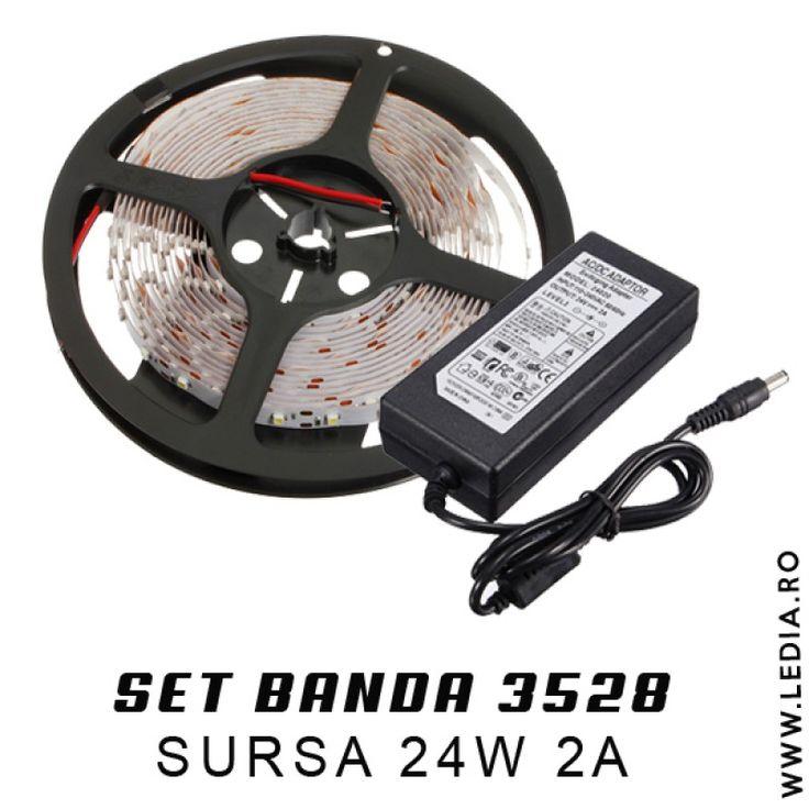 SET BANDA LED 3528 ALB RECE 12V IP20 - set complet de plug & play , montaj gacil si intuitiv doar 2 minute !