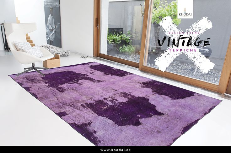 Vintage Wohnzimmer Teppich lila| Vintage Carpets Shabby chic Look - Antik Look KHODAI - Handmade Carpets