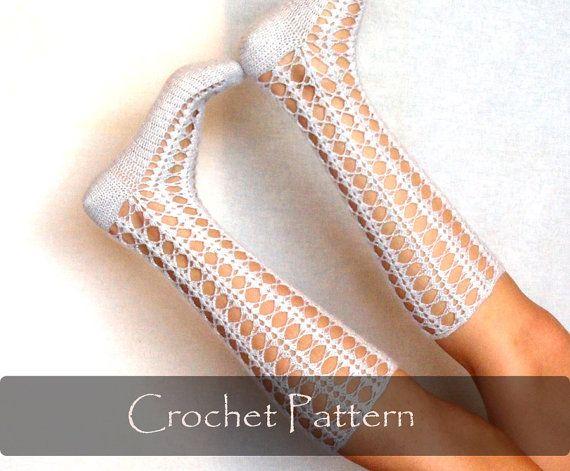 CROCHET PATTERN - Crochet Shell Socks Pattern Women Knee Socks Instructions Pattern Winter Warm Download Lace Open Work - P0044