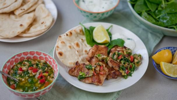Spice up your chicken with a zingy Turkish marinade. Make your own flatbreads and whip up a hot green relish for a real taste of the Middle East.