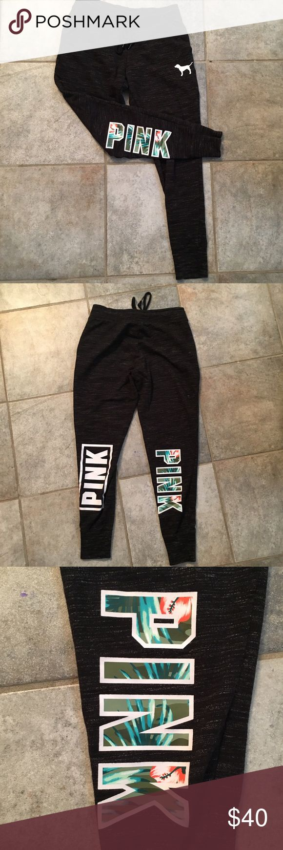 """VS Pink Tropical Joggers Marl Gray VS Pink joggers with """"pink"""" on the back right leg in a tropical pattern  Worn about 4 or 5 times, still in perfect condition with no flaws.   Size small PINK Victoria's Secret Pants Track Pants & Joggers"""