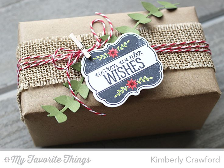 hand wrapped Christmas package from For the Love of Paper ... brown paper ... burlap ribbon band frayed at the edges ... red bakers twine ... cute little clothes pin ... sweet tag ... rustic look ...