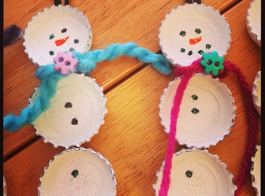 How to Make Bottle Cap Snowmen