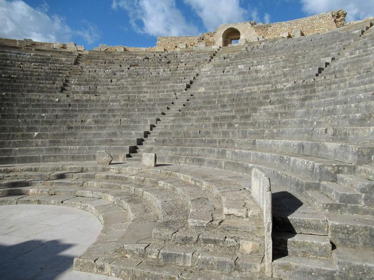 The 3,500-seat Roman theater (AD 168) at Dougga, Tunisia, is one of the best preserved of its kind in Africa.