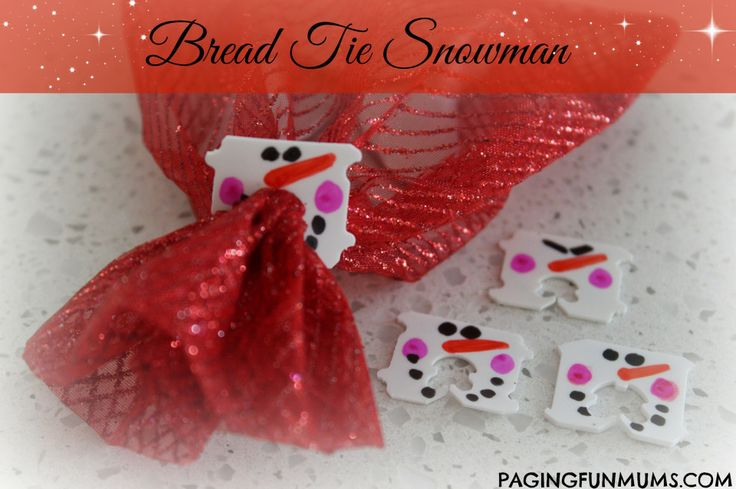 Bread Tie Snowman! Decorate your gifts with the tags.
