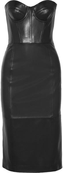 MICHAEL KORS Leather Bustier Dress - Lyst