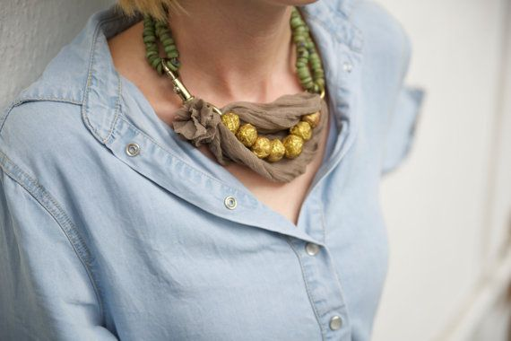 Golden peas necklace by MagicArtFactory on Etsy