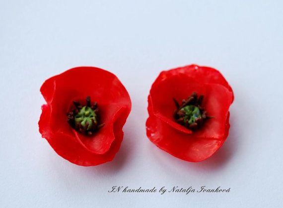 Red Poppy earrings - stud earrings - red earrings - poppies studs by Natalja Ivankova (panarili) - A perfect gift for her!